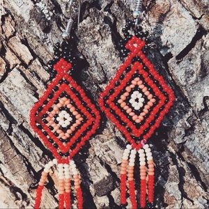 Huichol Beads Red/Pink/White Earrings